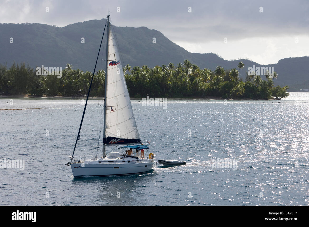 Moorings Charter Yacht Sailboat in Bora Bora Lagoon, Bora Bora, Society Islands, French Polynesia - Stock Image