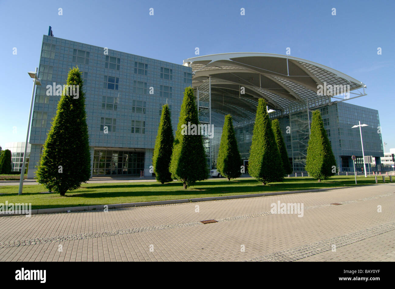 View at the entrance of Franz Joseph Strauss Airport, Munich, Bavaria, Germany - Stock Image