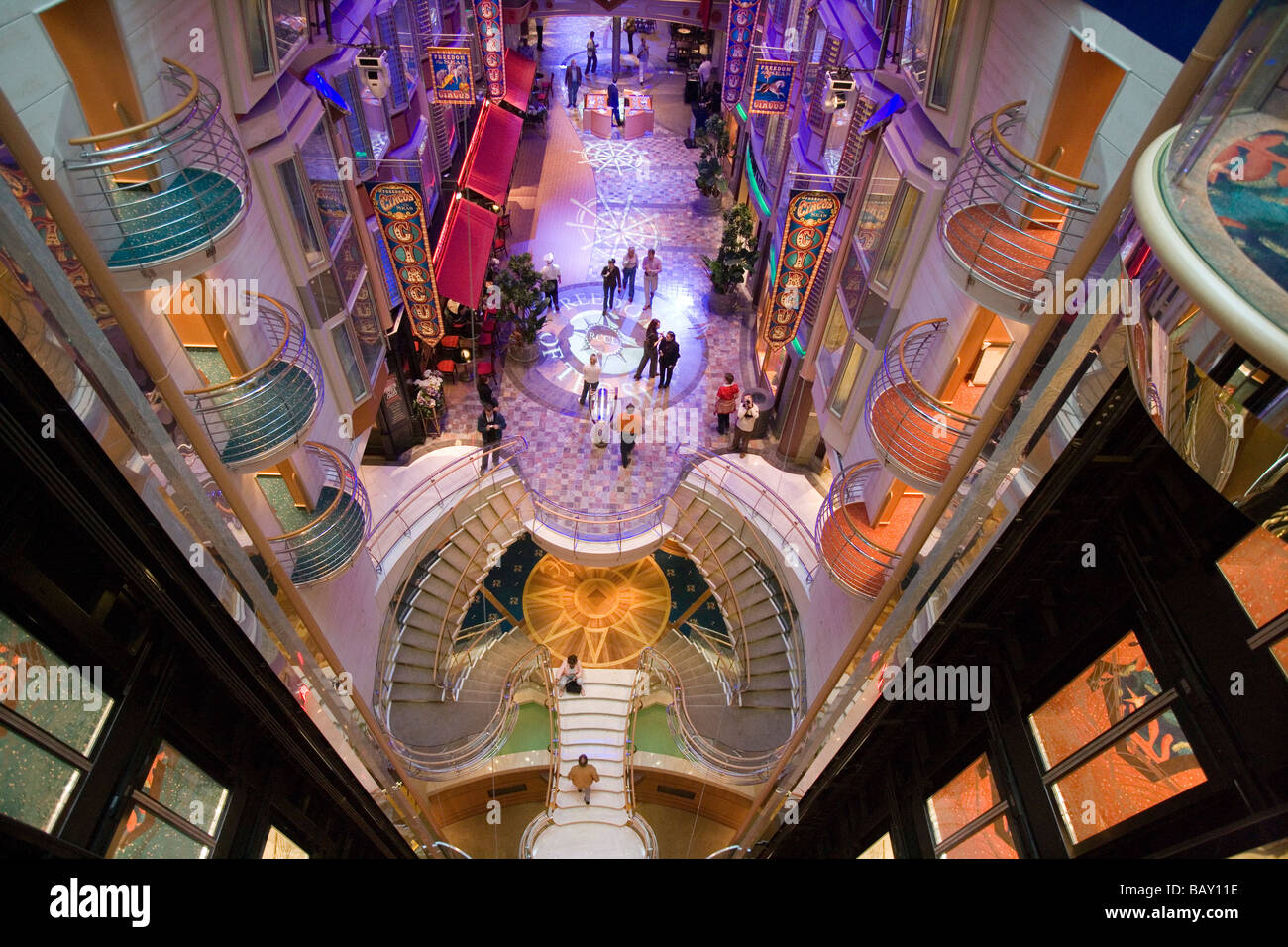 View From Deck 10 Onto Royal Promenade Freedom Of The Seas Cruise Ship Caribbean International Line