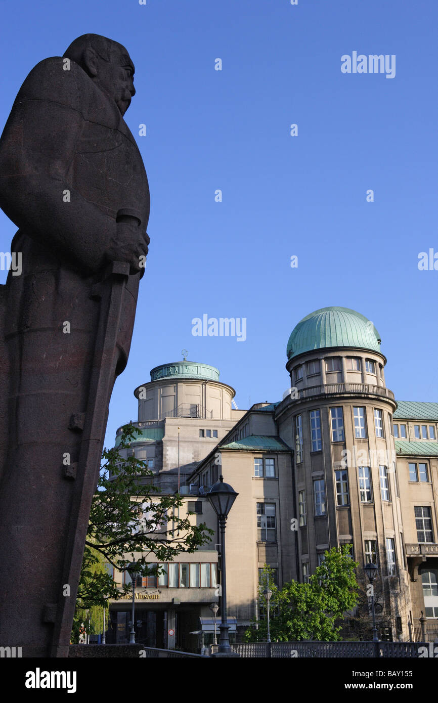 Statue of Bismarck in front of the Deutsches Museum, Munich, Bavaria, Germany - Stock Image