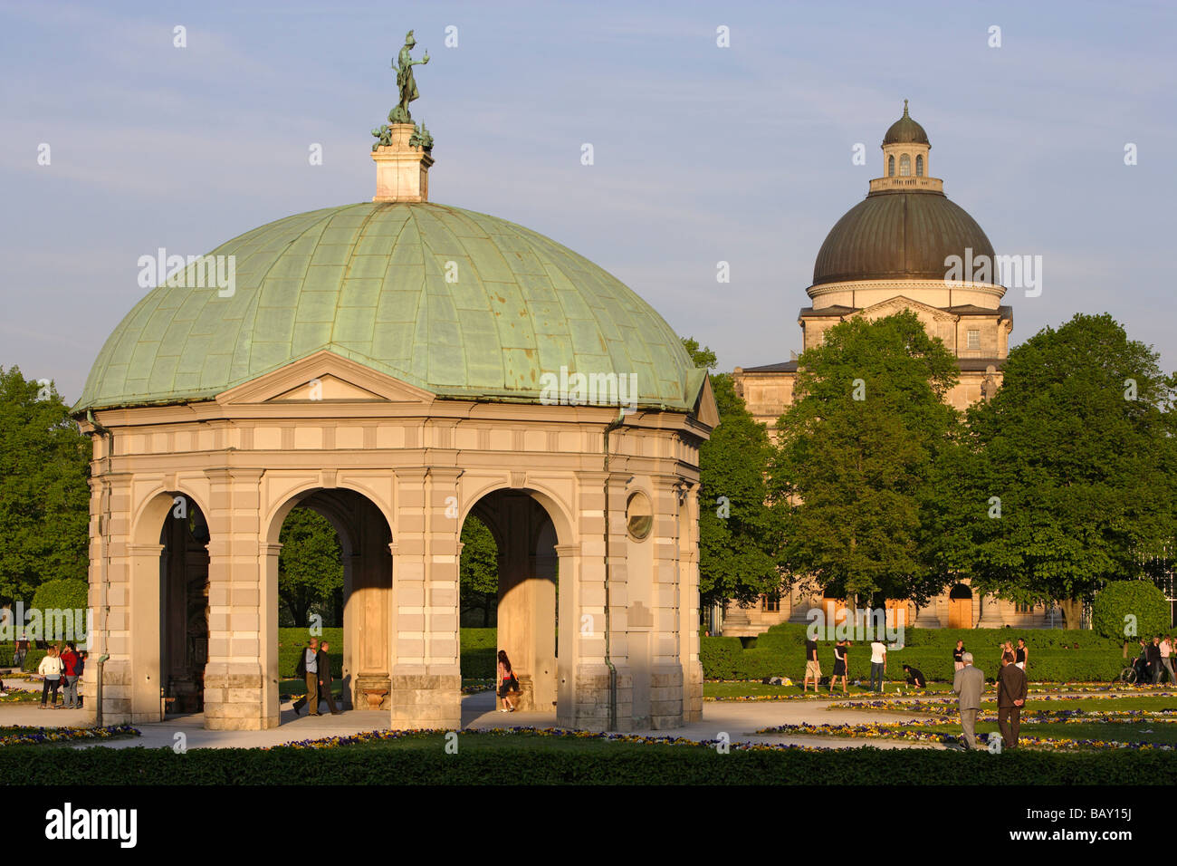 Pavillion at Hofgarten in front of dome of the Bavarian State Chancellery, Munich, Bavaria, Germany - Stock Image