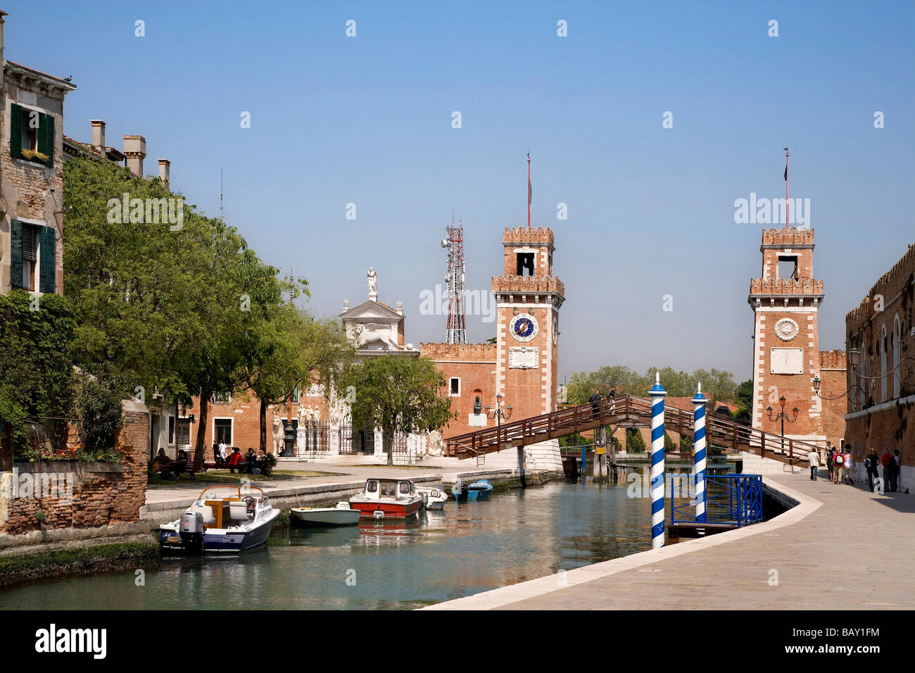 Entrance Tower, Arsenale, Venetian Arsenal, Venice, Veneto, Italy - Stock Image