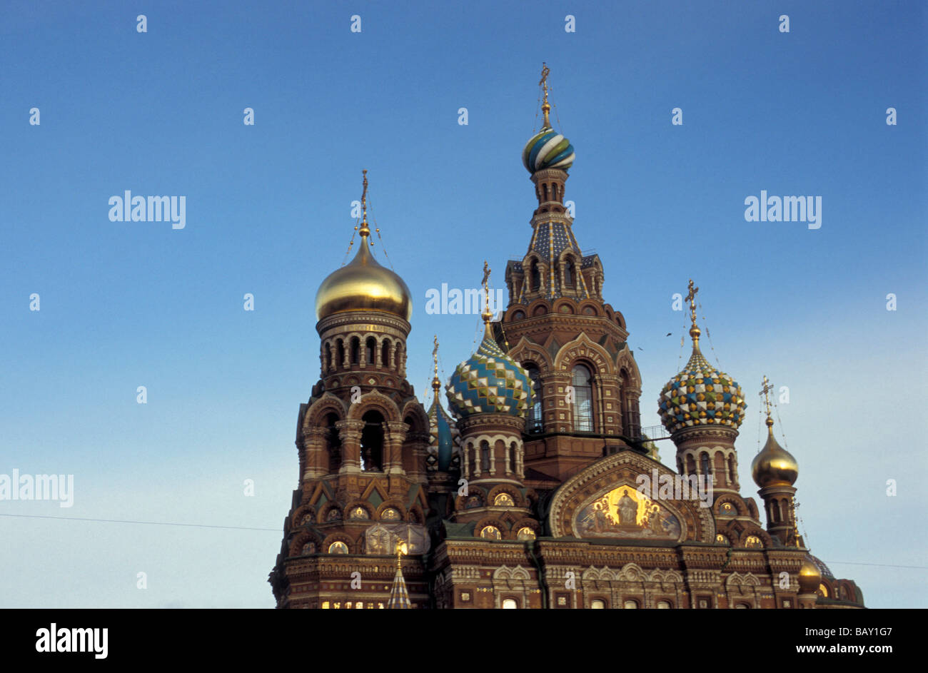 The richly decorated onion domes of the church of the Savior on Blood, St. Petersburg, Russia - Stock Image