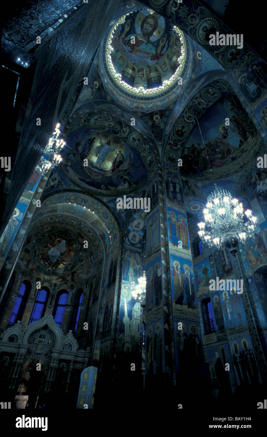 The richly decorated interior of the church of the Savior on Blood, St. Petersburg, Russia - Stock Image