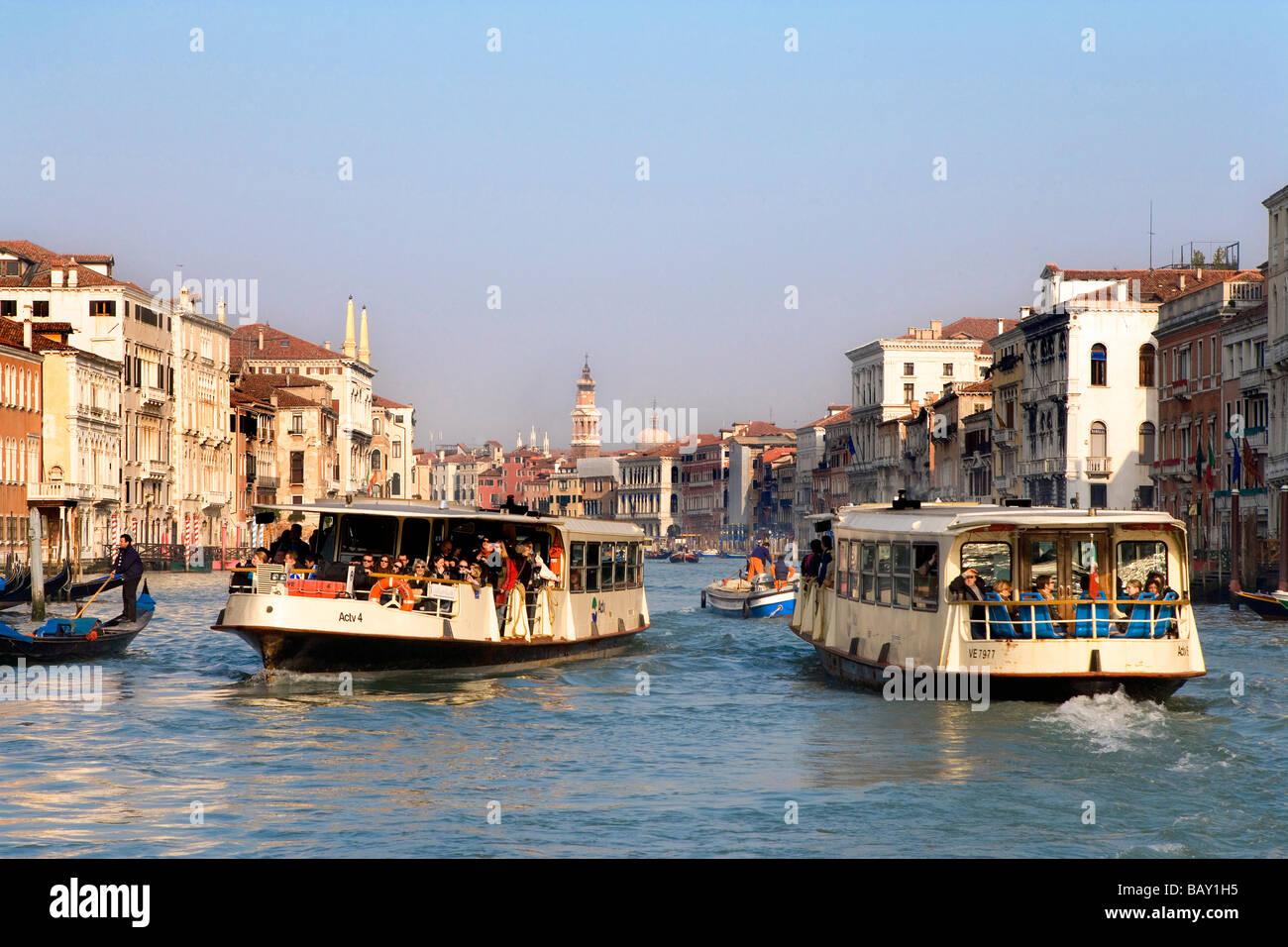 Grand Canal with Vaporetto, motorized waterbus, Venice, Veneto, Italy - Stock Image