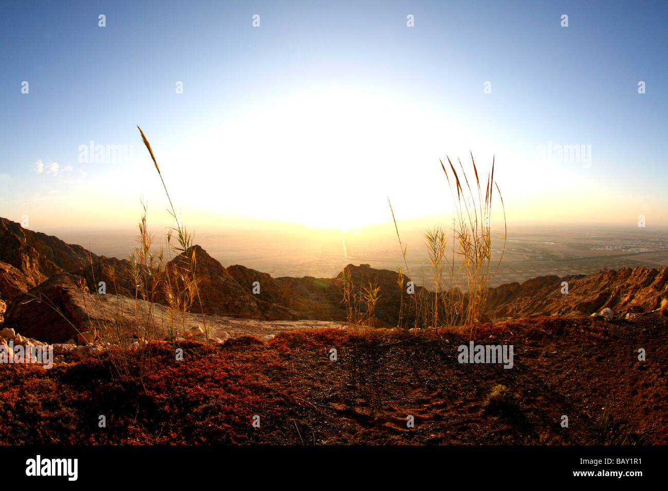 View from Jebel Hafeet, Al Ain, Abu Dhabi, United Arab Emirates, UAE - Stock Image