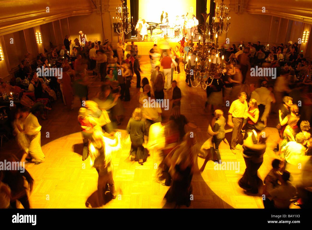 Ballroom dancing at Saalbau, Neukoelln District, Berlin, Germany Stock Photo