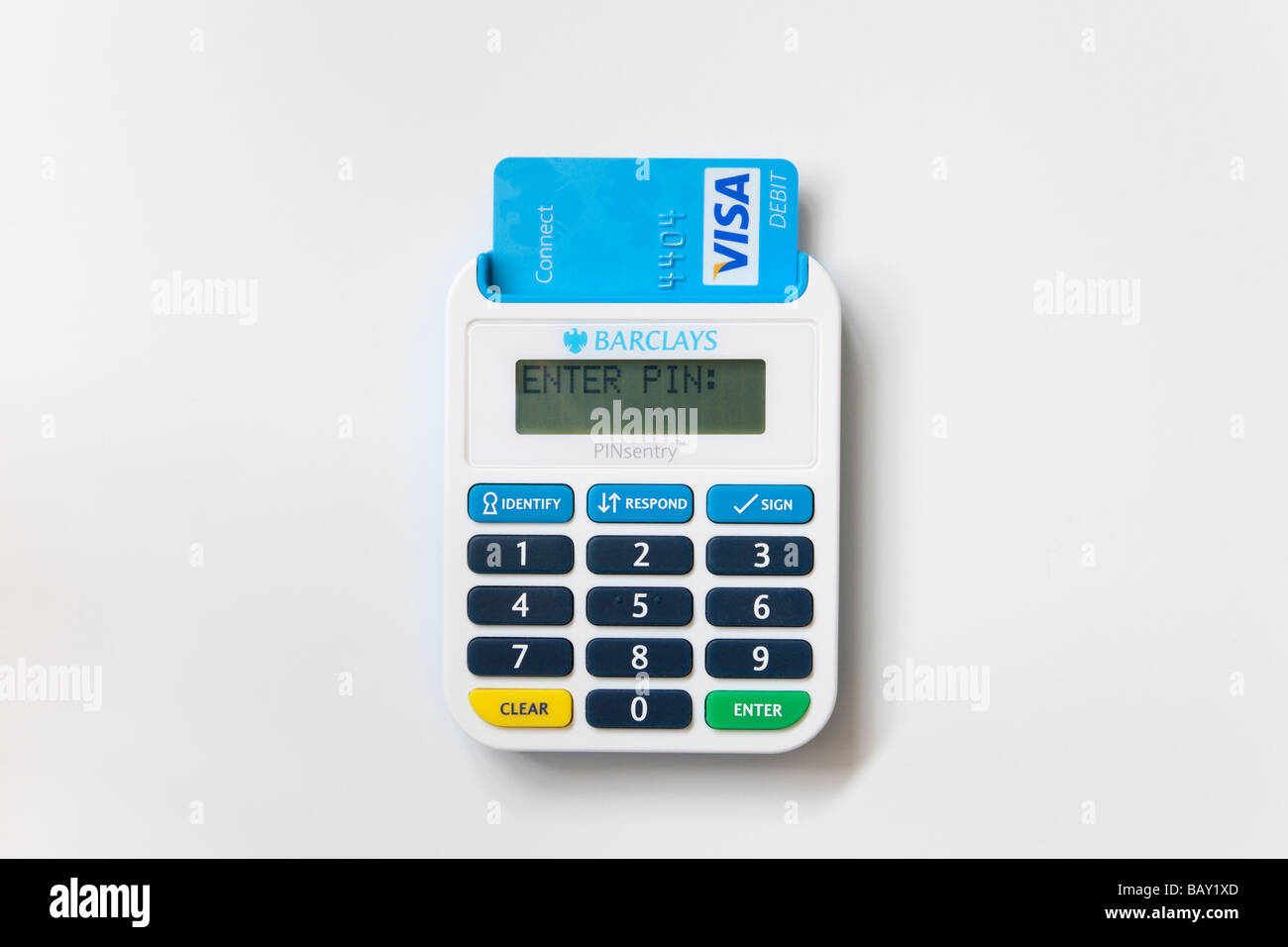 Close up of Barclays pinsentry bankcard reader with Visa connect debit card inserted. England UK - Stock Image