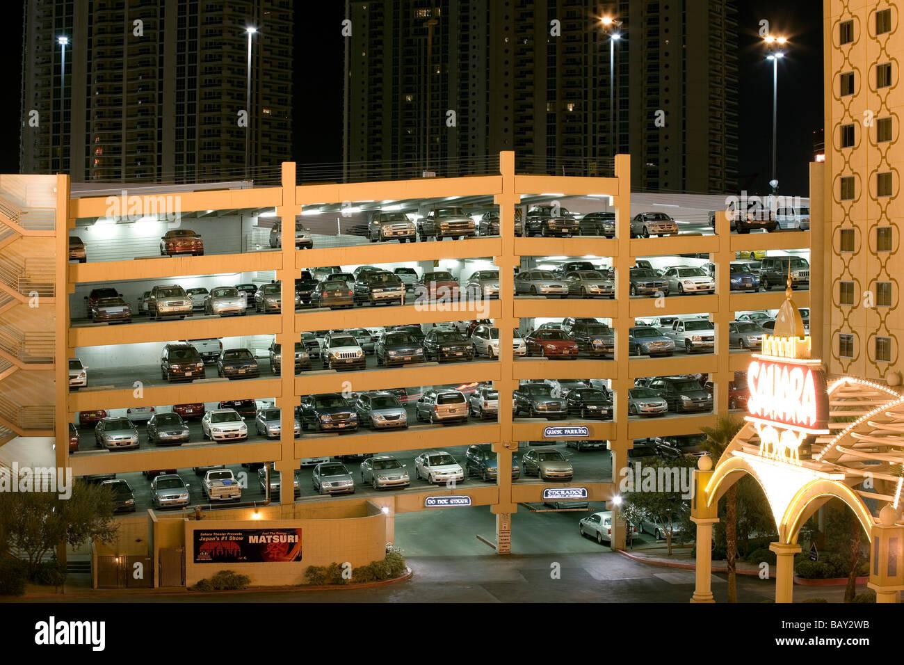 Parking lots and multi story car parks, Backyard of the Las Vegas Casinos, Las Vegas, Nevada, USA - Stock Image