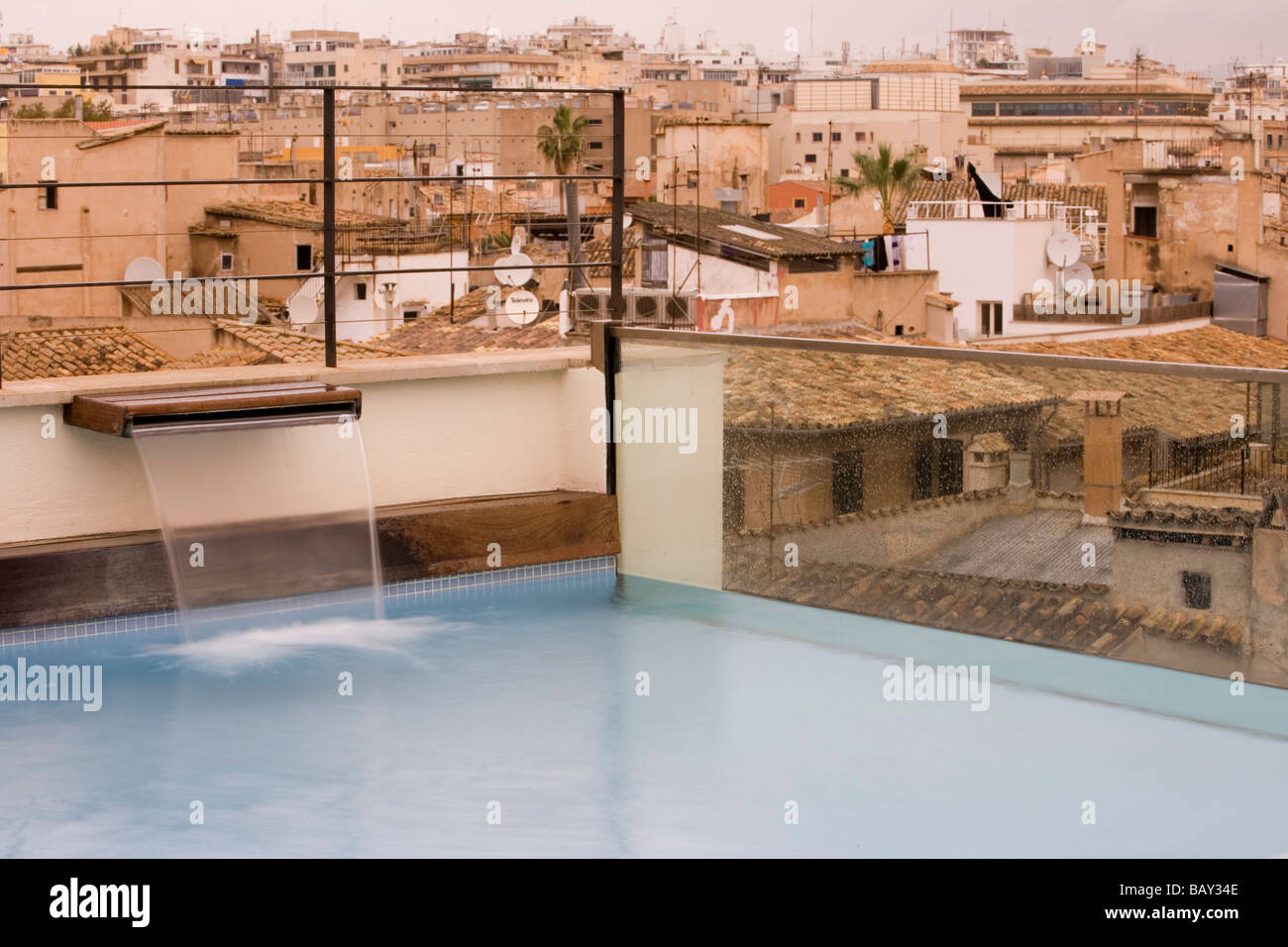 Plunge Pool on Rooftop of Hotel Tres, Palma, Mallorca, Balearic Islands, Spain - Stock Image