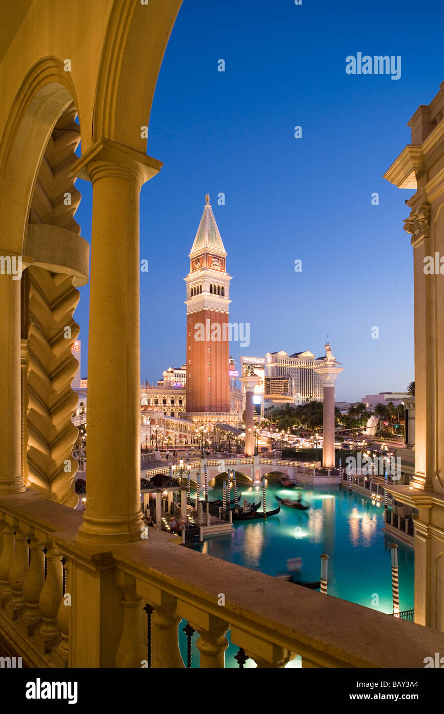 Evening shot of the Venetian Resort Hotel and Casino in Las Vegas, Nevada, USA - Stock Image