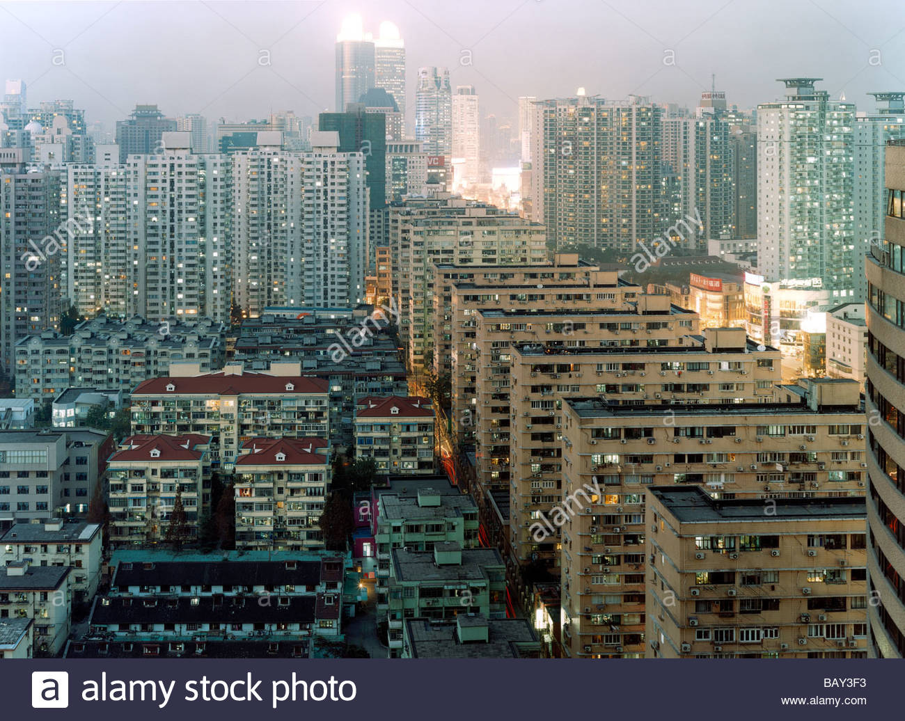 Large and closely built apartment blocks, Dense, Overpopulation, Xujiahui, Shanghai, China - Stock Image