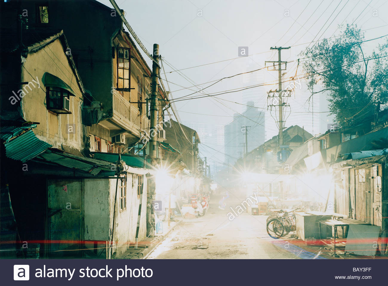 Houses, Longtangs, are being demolished to make way for new buildings, Urban development, Waicangqiao Jie, Shanghai, - Stock Image