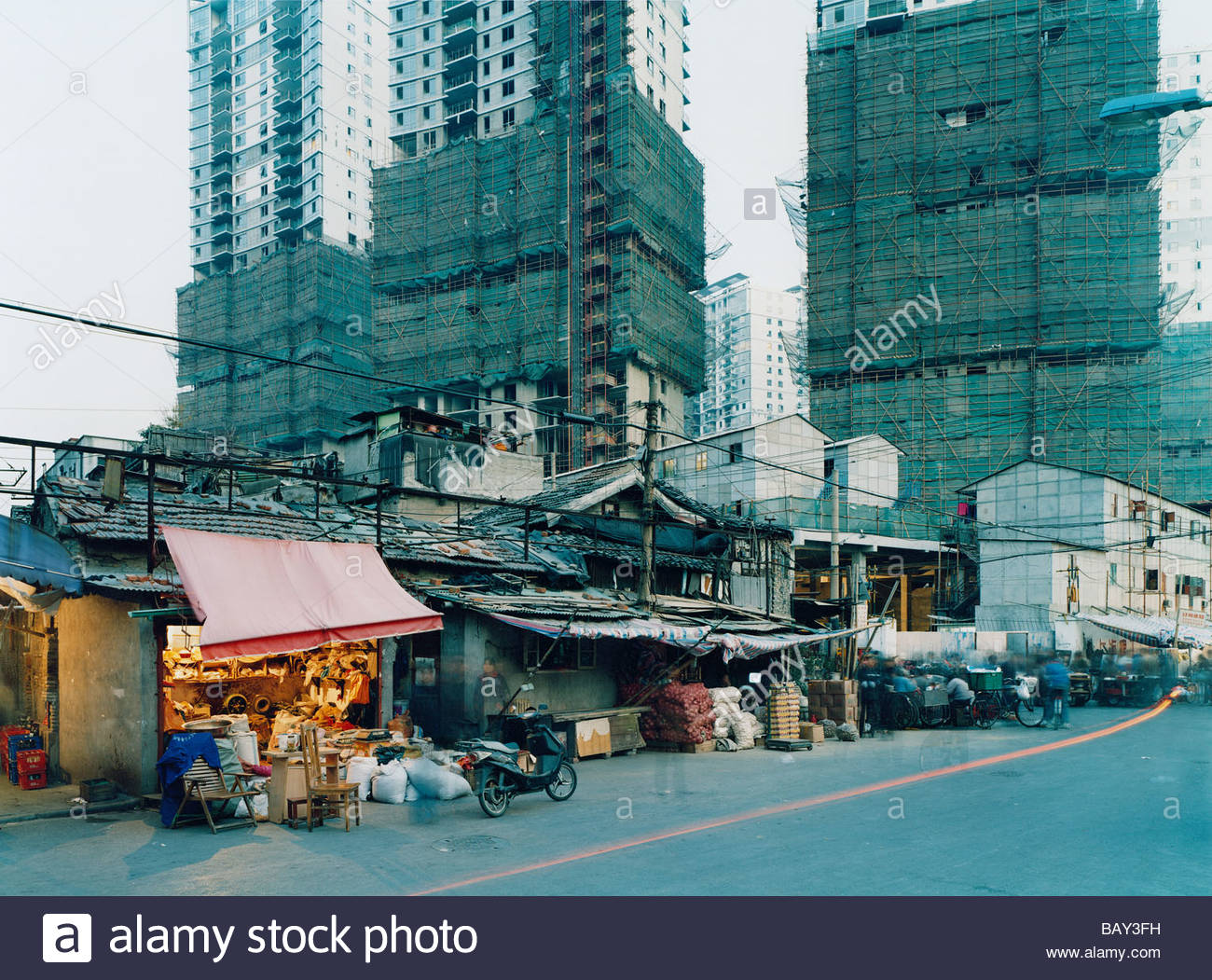 Area is being demolished, Houses, Longtangs are being demolished to make way for new skyscraper buildings, Urban Stock Photo