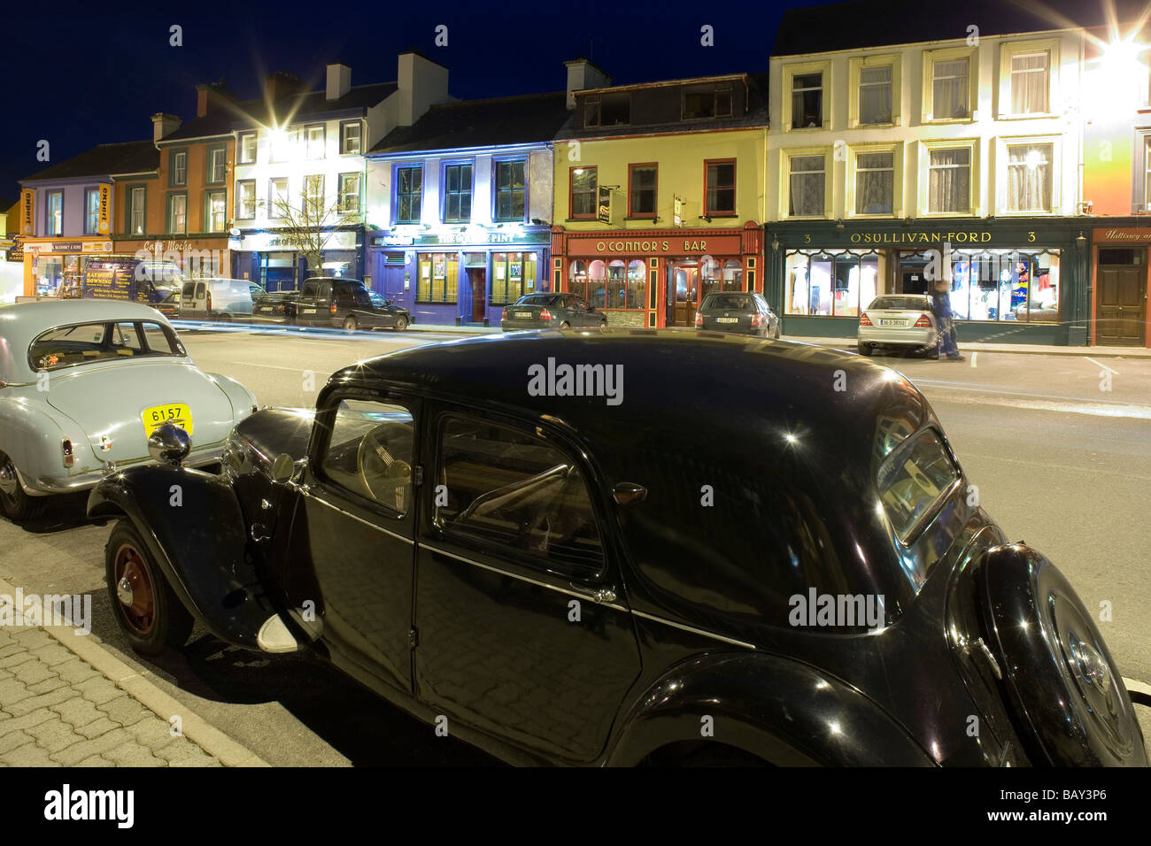 Vintage cars parked in the small town of Kenmare, County Kerry Stock ...