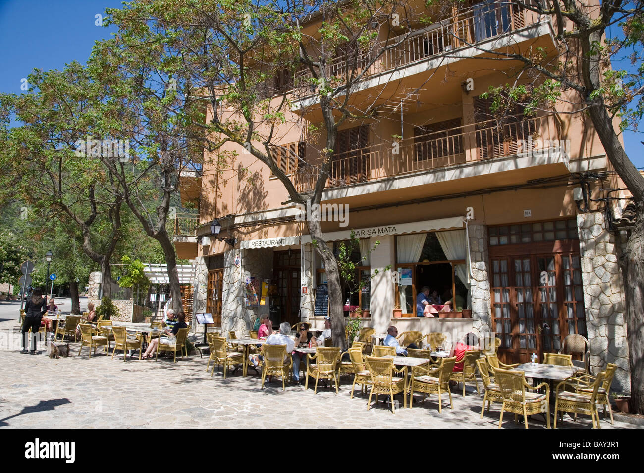 Outdoor Seating at Bar Sa Mata, Valldemossa, Mallorca, Balearic Islands, Spain - Stock Image