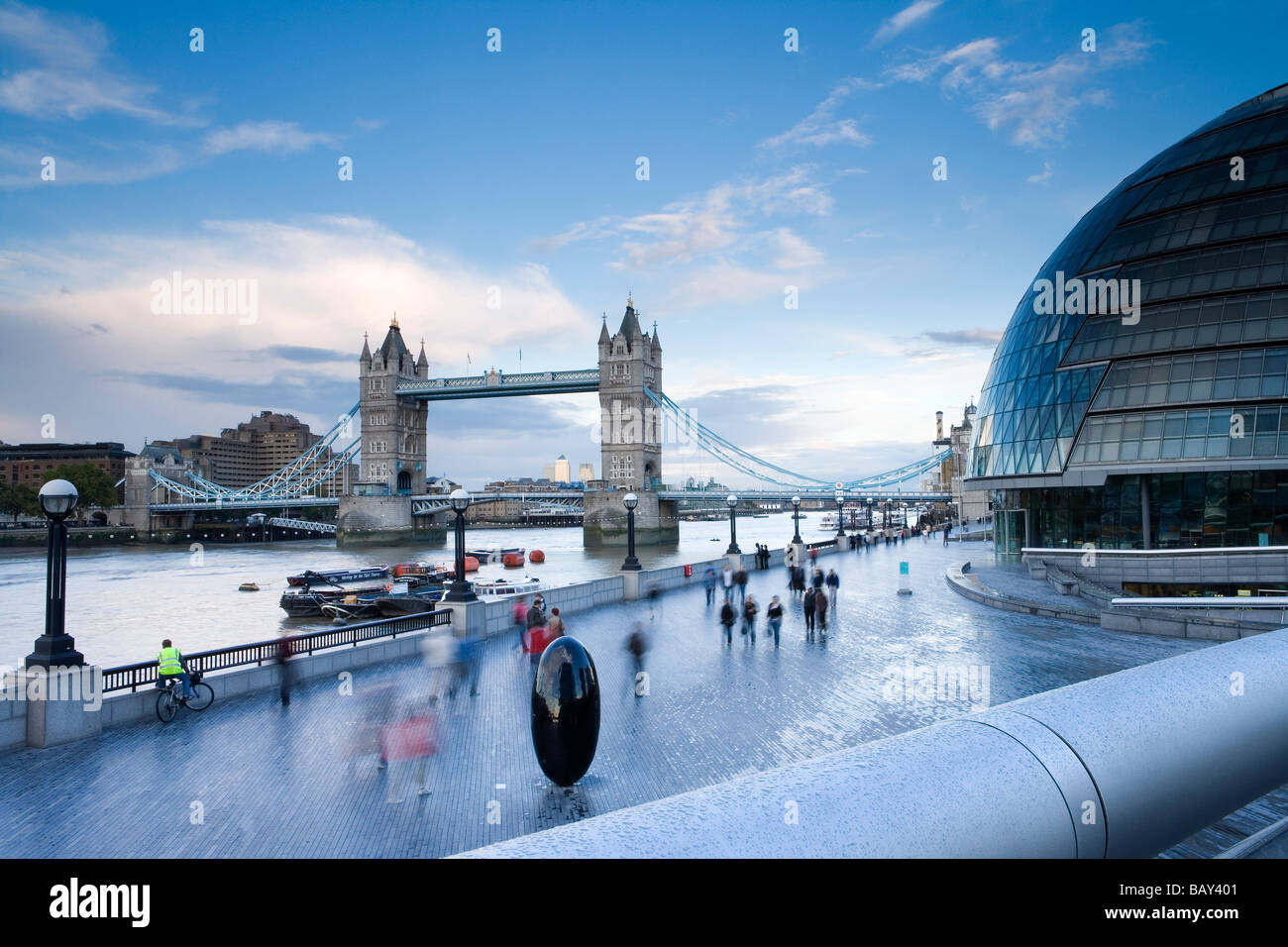 Tower Bridge and New City Hall of London at the south bank of River Themse, Southwark, London, England, Europe - Stock Image