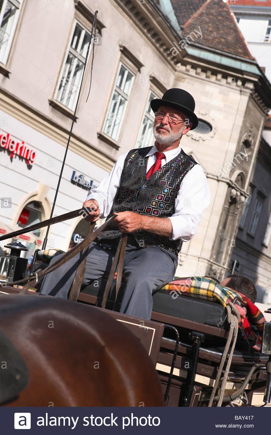 Two horse carriage with coachman, Stephansplatz, Vienna, Austria - Stock Image