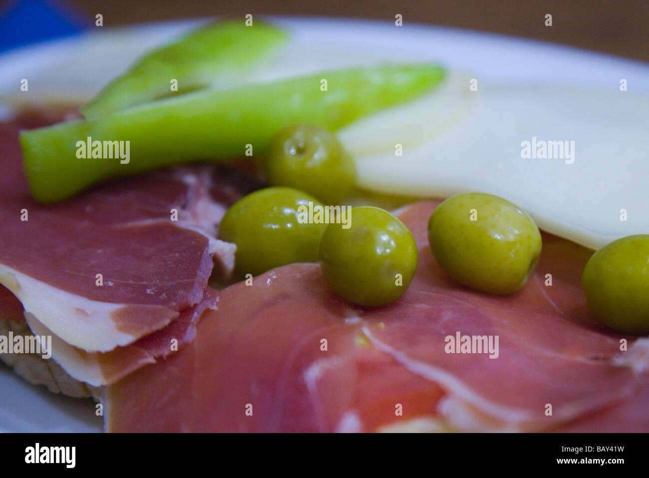 Pa amb Oli ham sandwich at Sa Placa Can Jordi Bar, Puigpunyent, Mallorca, Balearic Islands, Spain - Stock Image