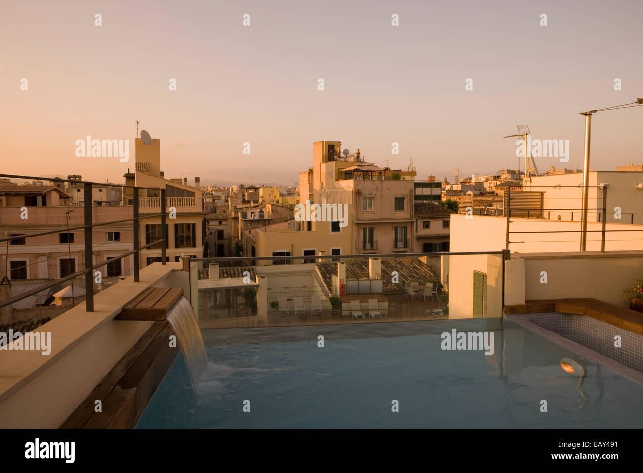 Hotel Tres Rooftop Plunge Pool at Dusk, Palma de Mallorca, Mallorca, Balearic Islands, Spain - Stock Image