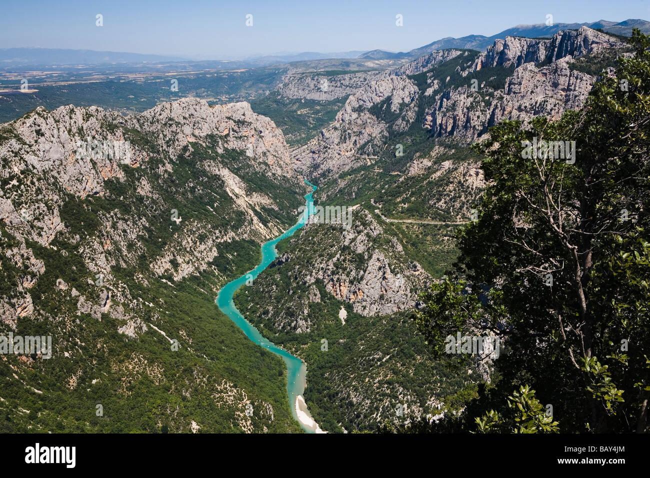 Grand Canyon du Verdon, view at the canyon and the river Verdon, Alpes-de-Haute-Provence, Provence, France - Stock Image