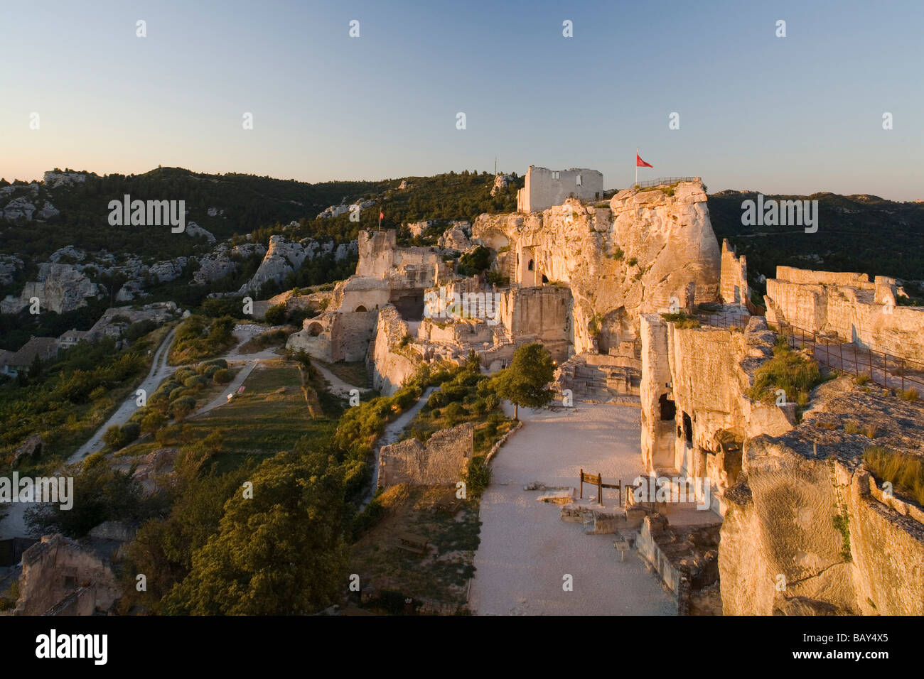 The rock fortress in the evening light, Les-Baux-de-Provence, Vaucluse, Provence, France - Stock Image