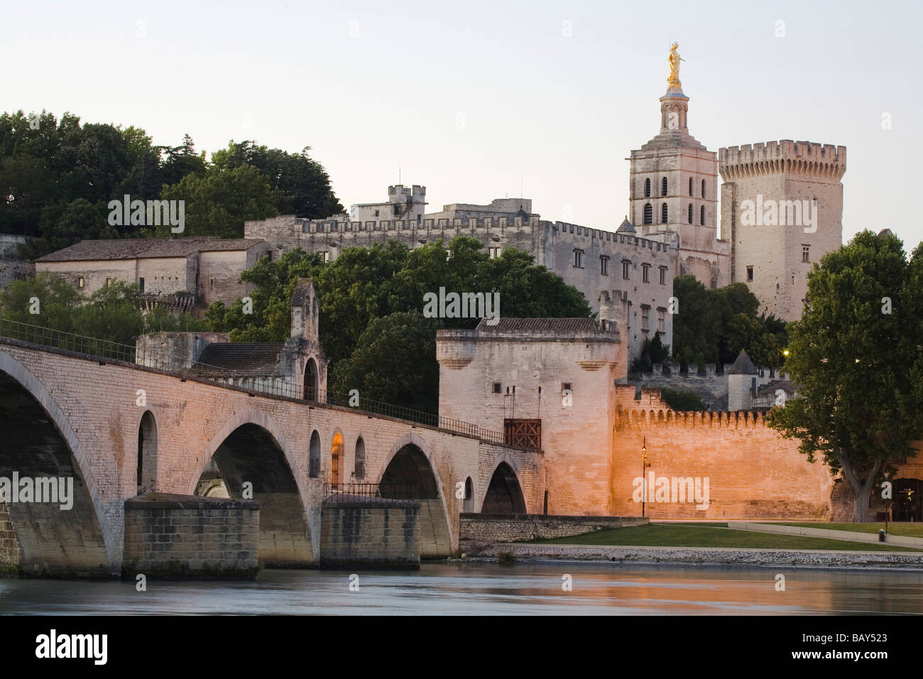 View at the bridge St. Benezet and the Palace of the Popes, Avignon, Vaucluse, Provence, France - Stock Image
