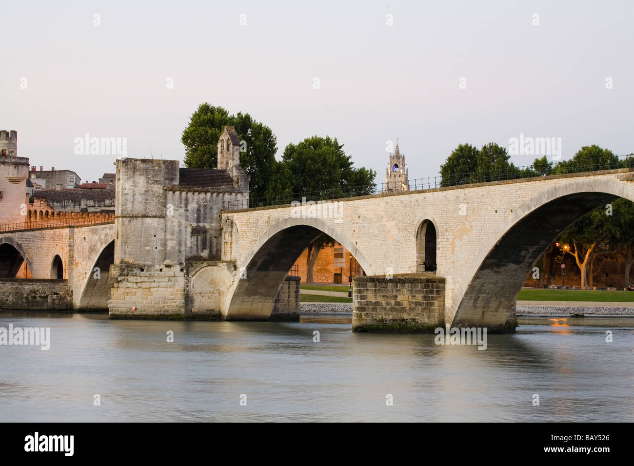 View at the bridge St. Benezet, Avignon, Vaucluse, Provence, France - Stock Image