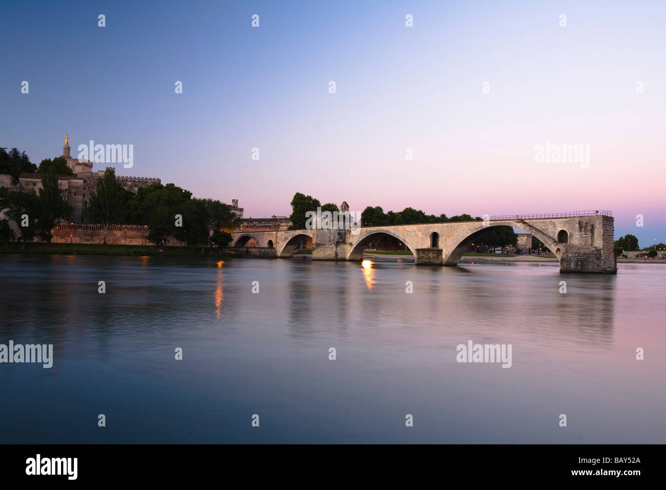 View at the bridge St. Benezet at sunset, Avignon, Vaucluse, Provence, France - Stock Image