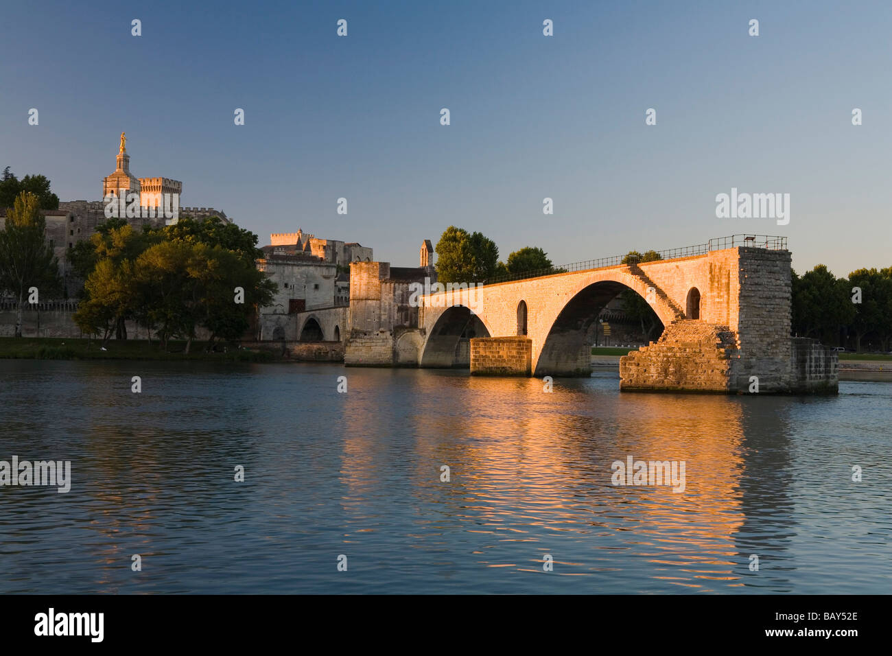 View at the bridge St. Benezet in the evening light, Avignon, Vaucluse, Provence, France - Stock Image