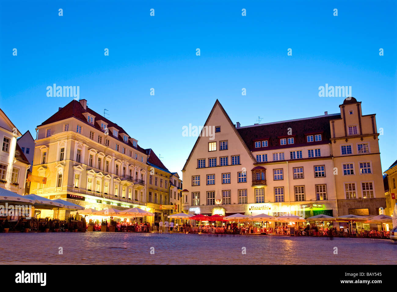 Cafes on the Town Hall Square, Tallinn, Estonia, Europe - Stock Image