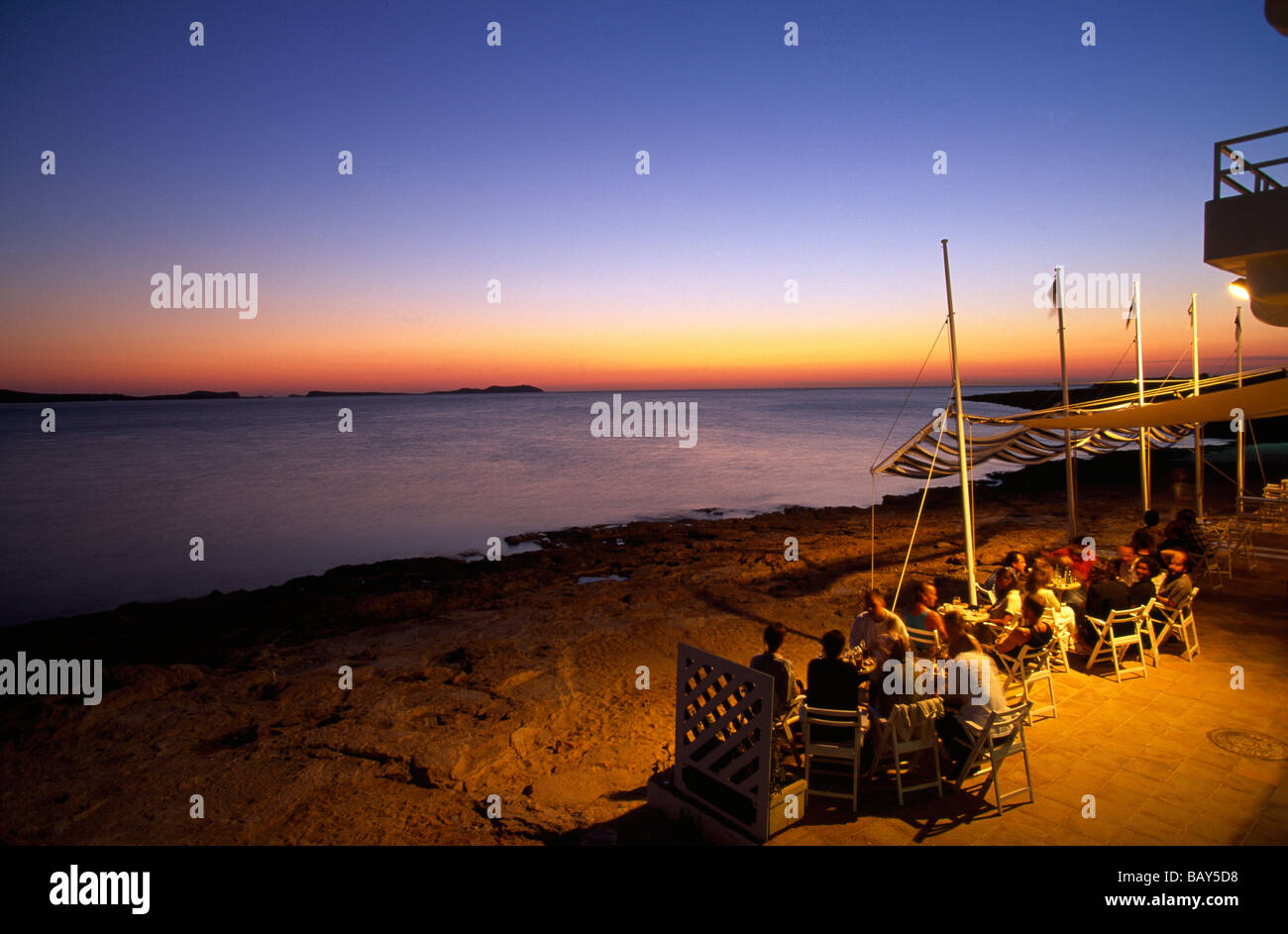 Cafe del Mar at sunset, San Antoni, Ibiza, Spain - Stock Image