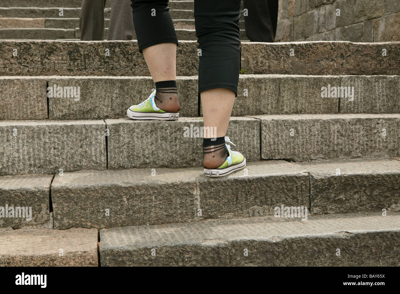 Tourists, pilgrims wearong worn out shoes, Mount Tai, Tai Shan, Shandong province, World Heritage, UNESCO, China - Stock Image