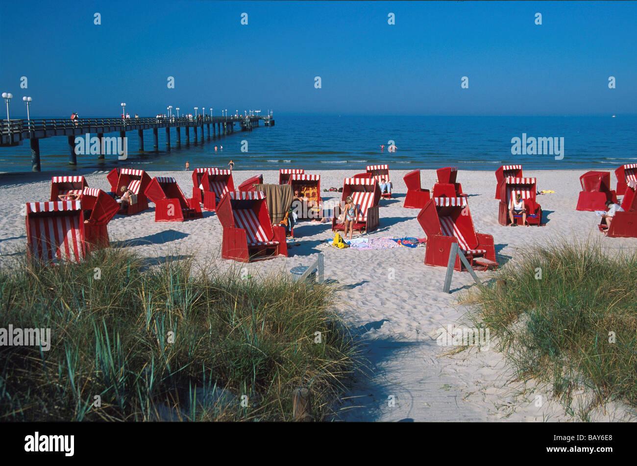 Beach Chairs on the beach of Ostseebad Binz, Ruegen, Mecklenburg-Western Pomerania, Germany Stock Photo