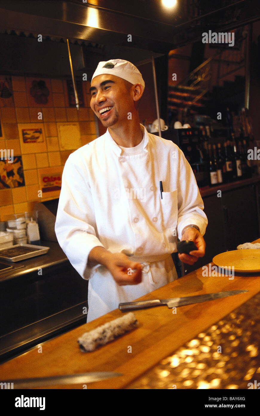 Laughing cook at the restaurant Oba Chine, Beverly Hills, Los Angeles, Kalifornien, USA - Stock Image