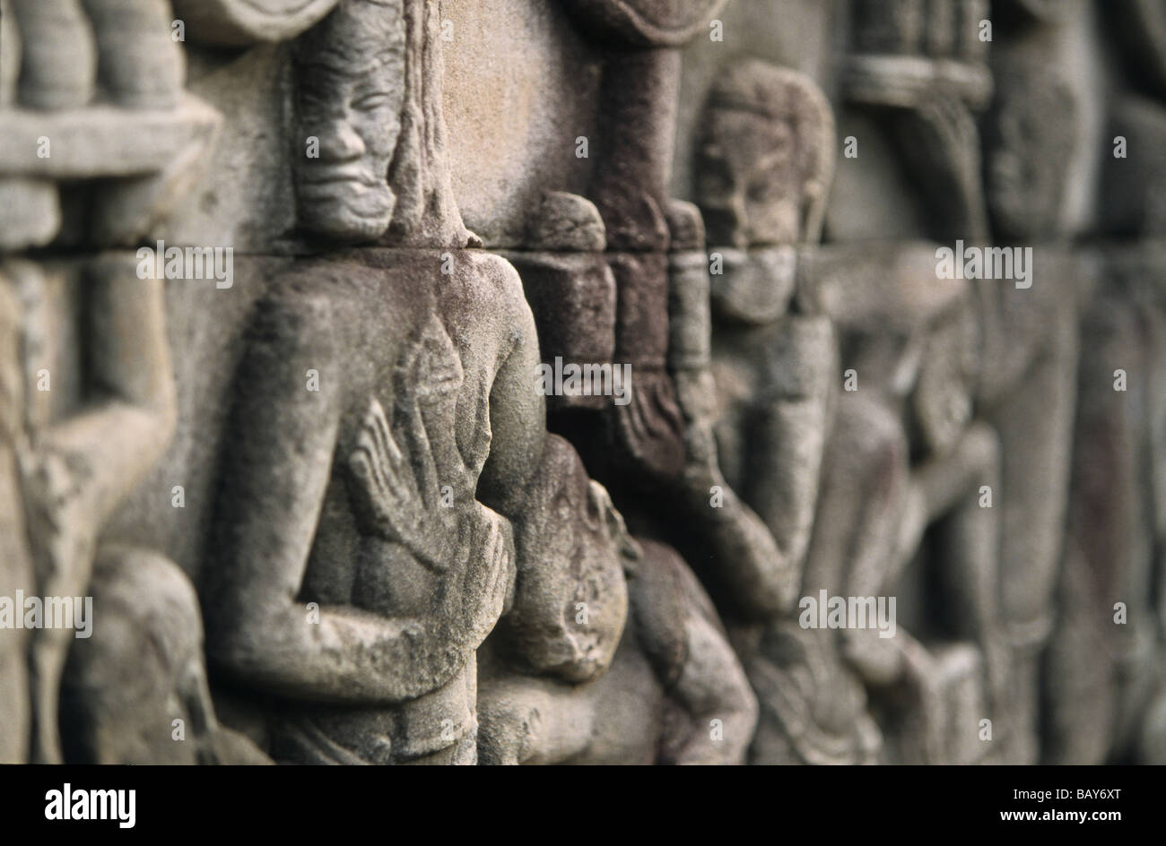 stone reliefs, Temple Bayon Angkor Thom, Cambodia - Stock Image