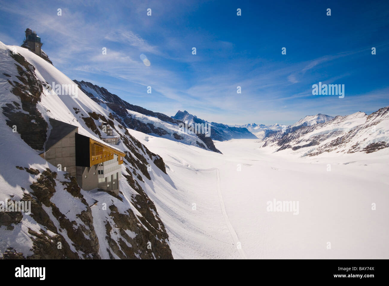 Sphinx Observatory (3571 m) at mountain Sphinx near Jungfraujoch (3454 m), also called the Top of Europe (highest - Stock Image