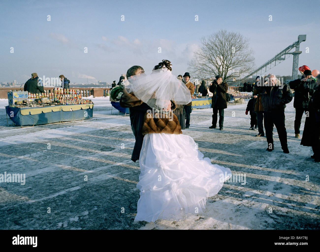 Bride and groom dancing, Marriage, Sparrow Hills, Moscow, Russia - Stock Image