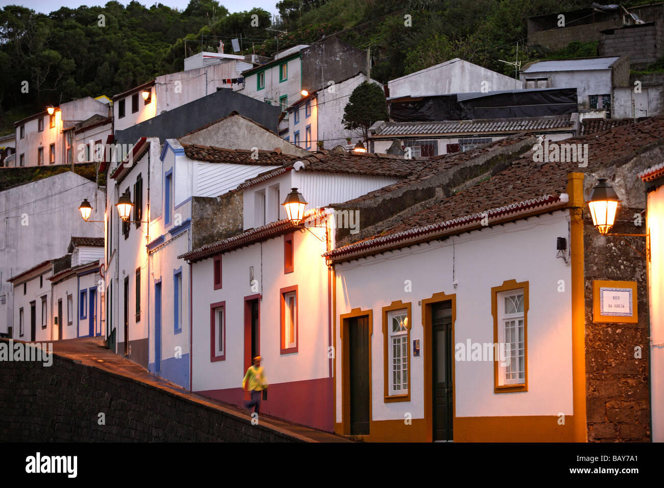 An evening in the streets of Agua de Pau, Azores, Portugal - Stock Image