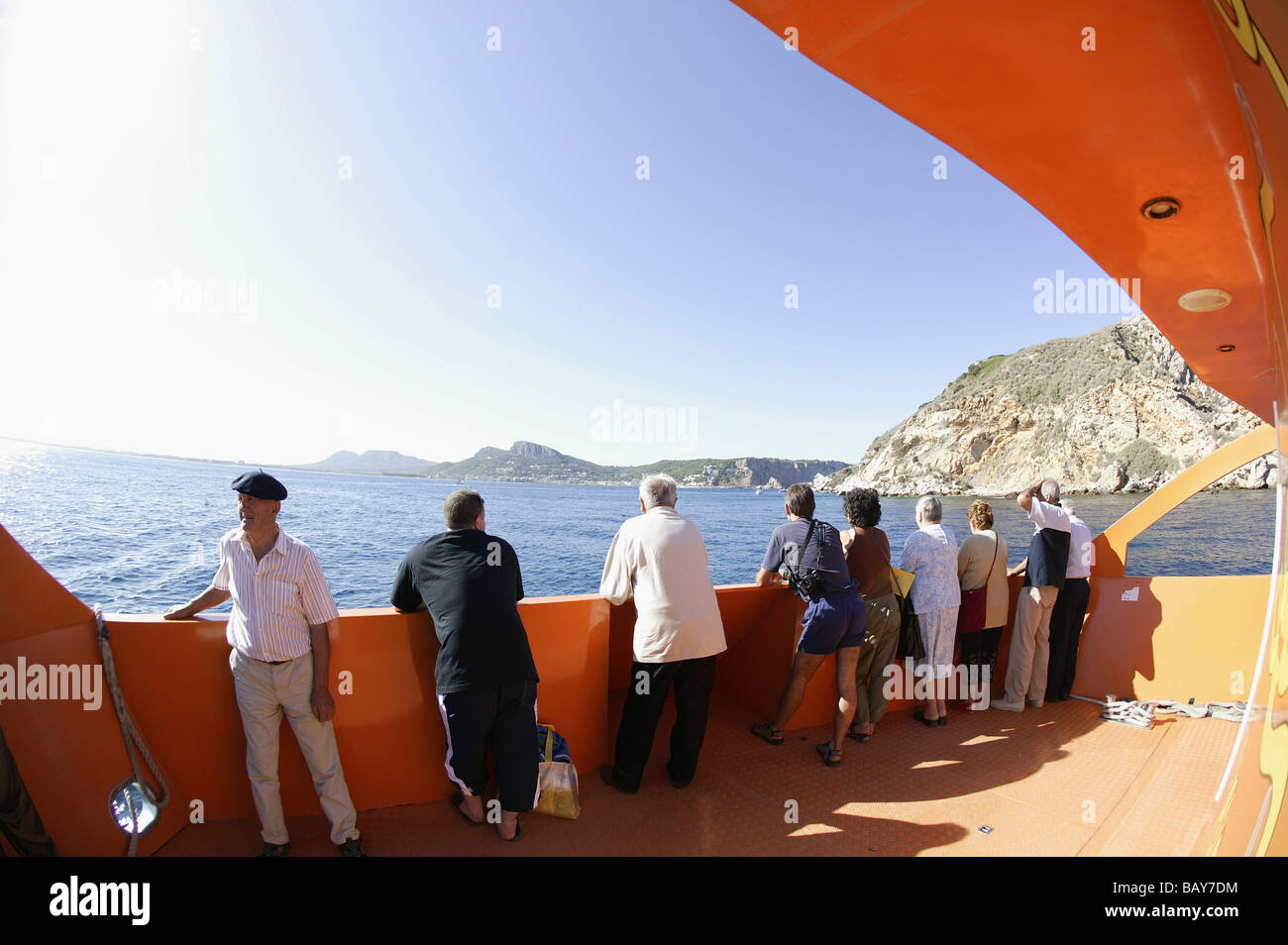 Costa Brava, Tour Guests, Glass-Bottom Boat Nautilus, Water at Illes Medes, Costa Brava, Catalonia Spain - Stock Image