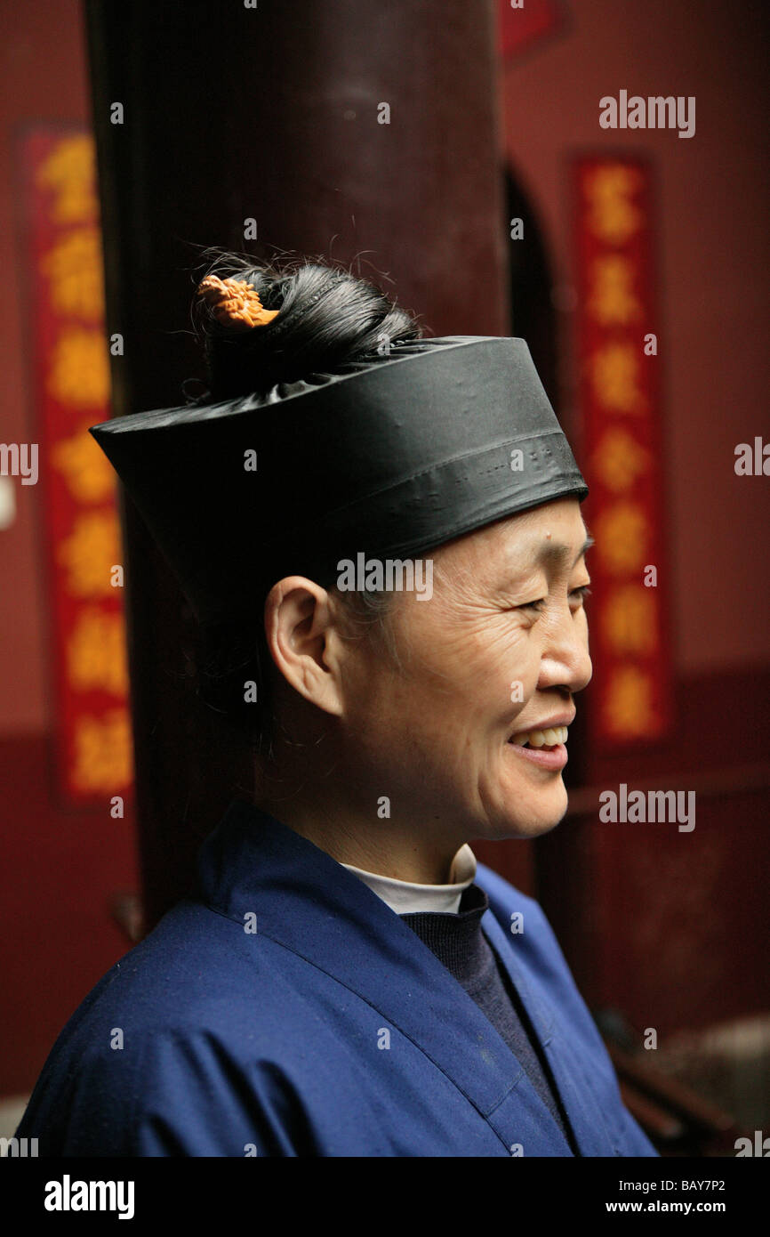 Portrait of a chinese nun, Nunnery Huanting, Heng Shan South, Hunan province, China, Asia - Stock Image