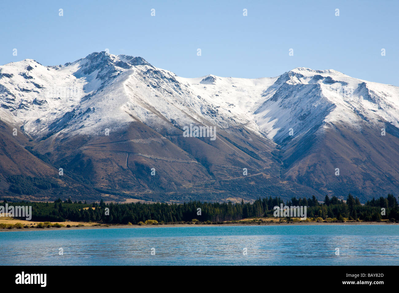 Snow capped mountain and Lake Ohau South Island New Zealand - Stock Image