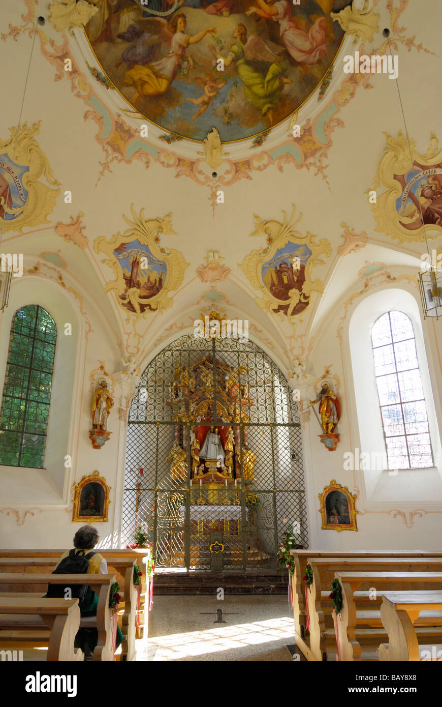 chapell Lorettokapelle, pilgrimage chapell, interior view, Oberstdorf, Allgaeu range, Allgaeu, Swabia, Bavaria, - Stock Image