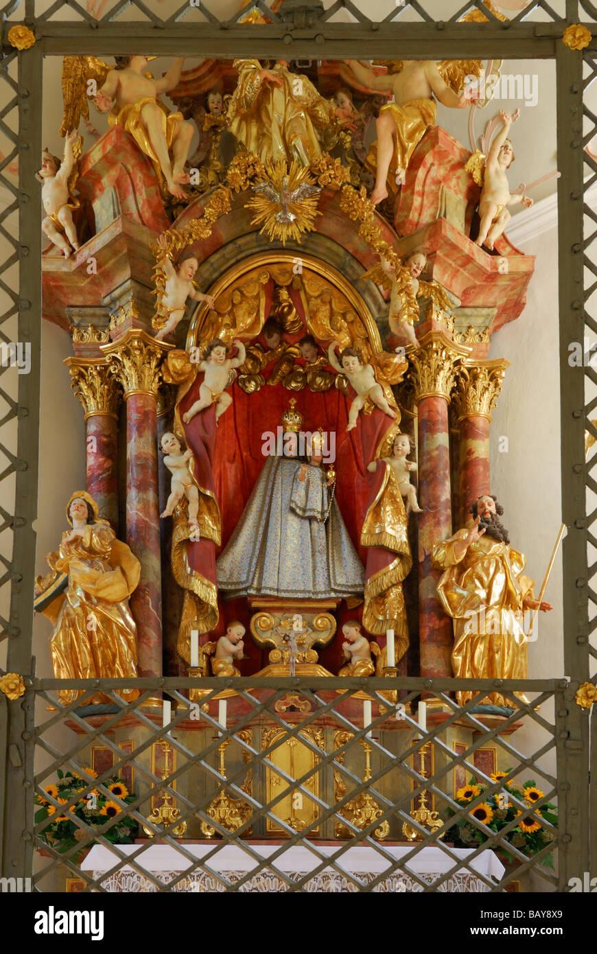 madonna in chapell Lorettokapelle, pilgrimage chapell, interior view, Oberstdorf, Allgaeu range, Allgaeu, Swabia, - Stock Image