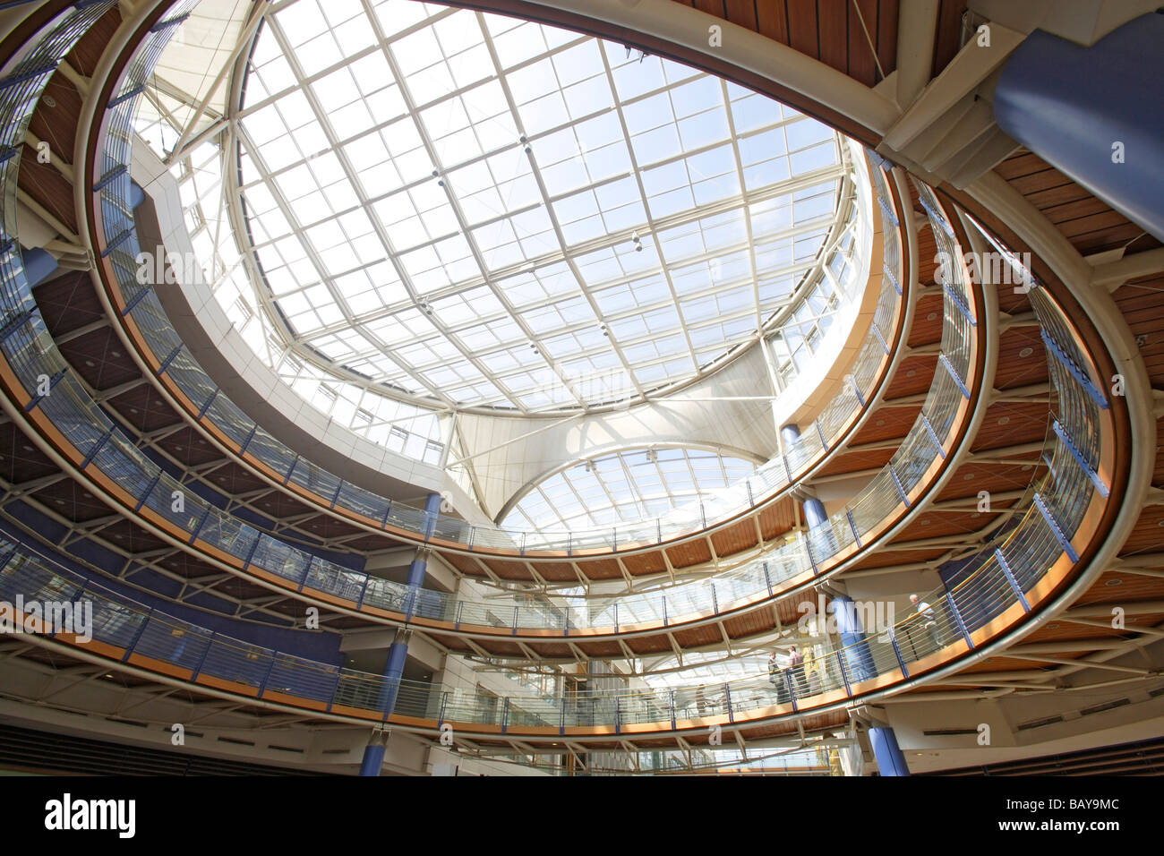 Atrium of the Auchan Mall in Avenue J. F. Kennedy in the district Kirchberg, Luxembourg - Stock Image