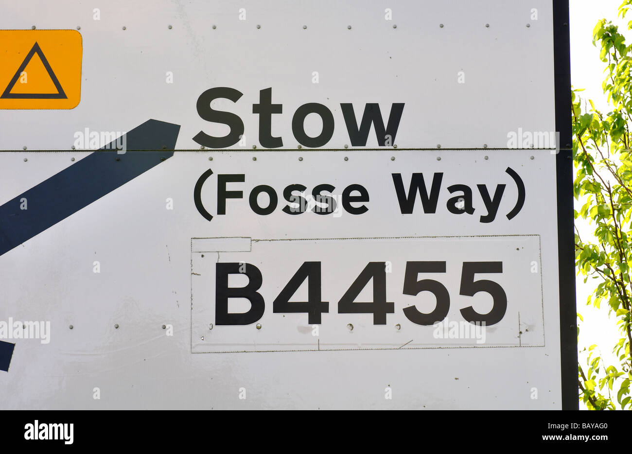 Road sign with Fosse Way on, Warwickshire, UK - Stock Image