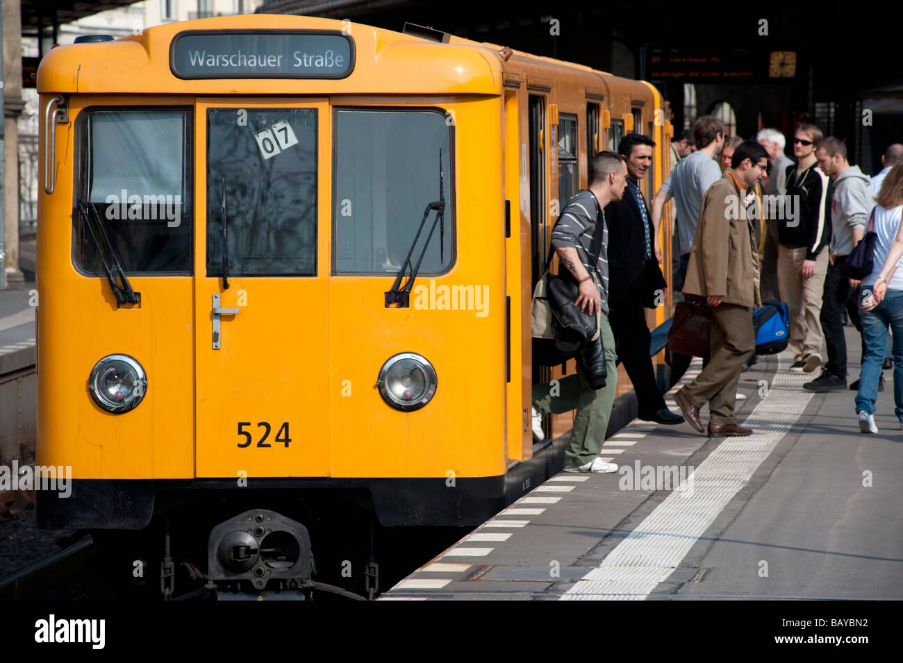 Berlin S Bahn passenger train at station in Kreuzberg Berlin Stock Photo