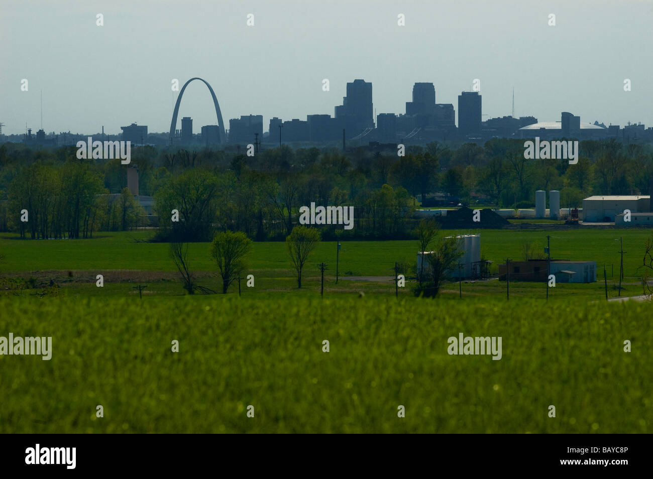 Syline of St Louis Missouri from Cahokia Mounds park Stock