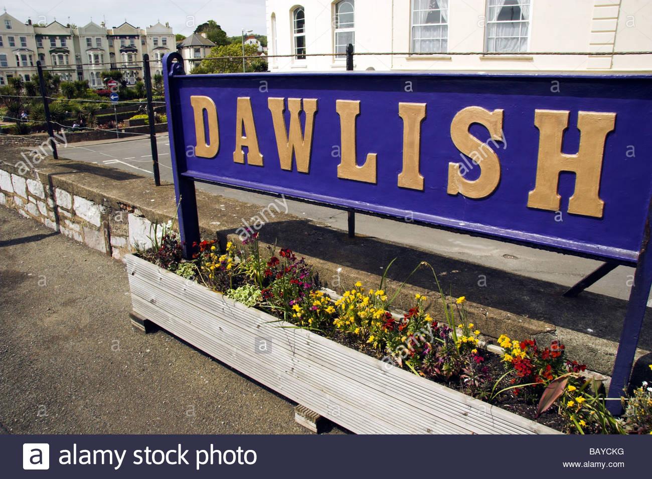 'Dawlish' railway station sign, Devon, England, UK. - Stock Image