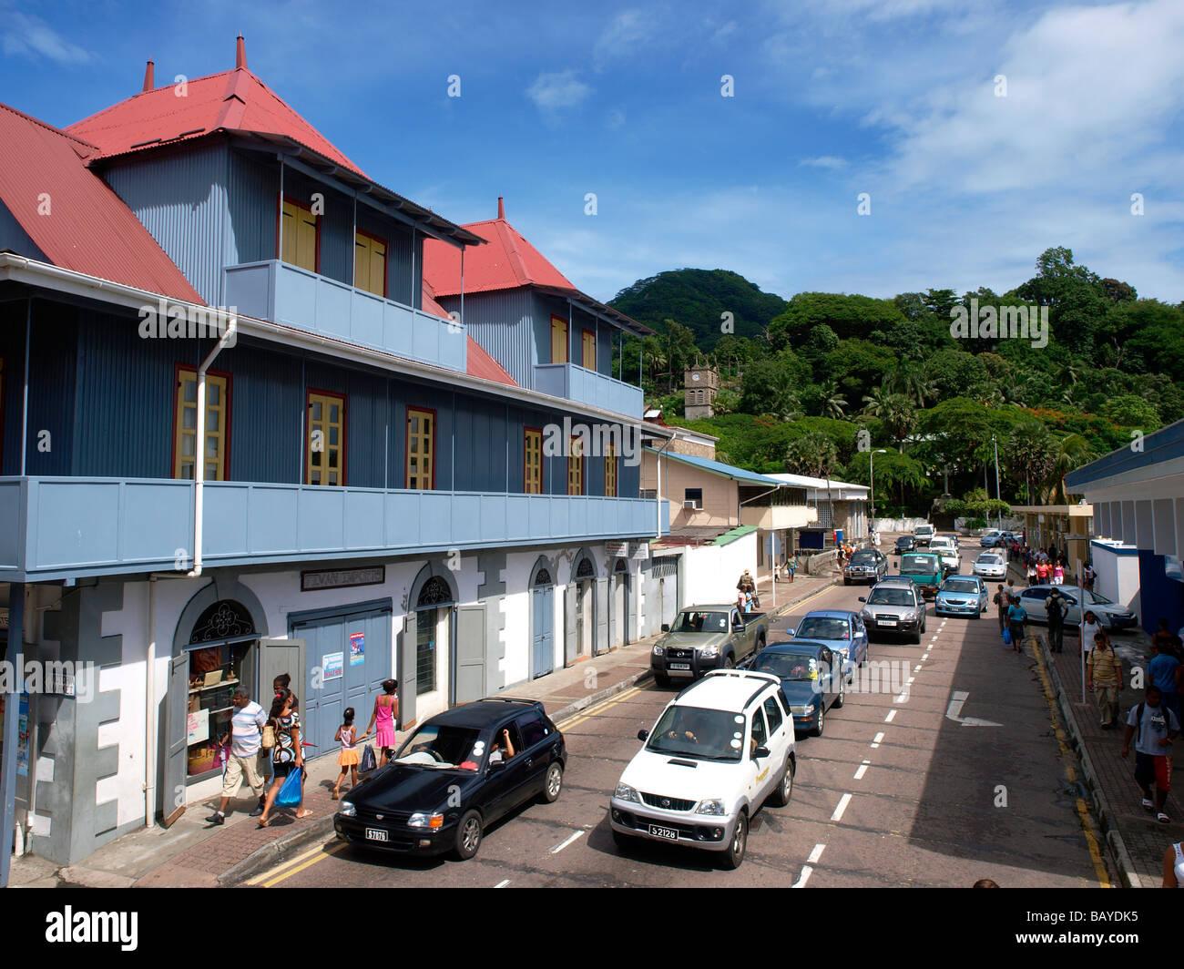 Albert Street, Victoria, Mahé, Seychelles - Stock Image
